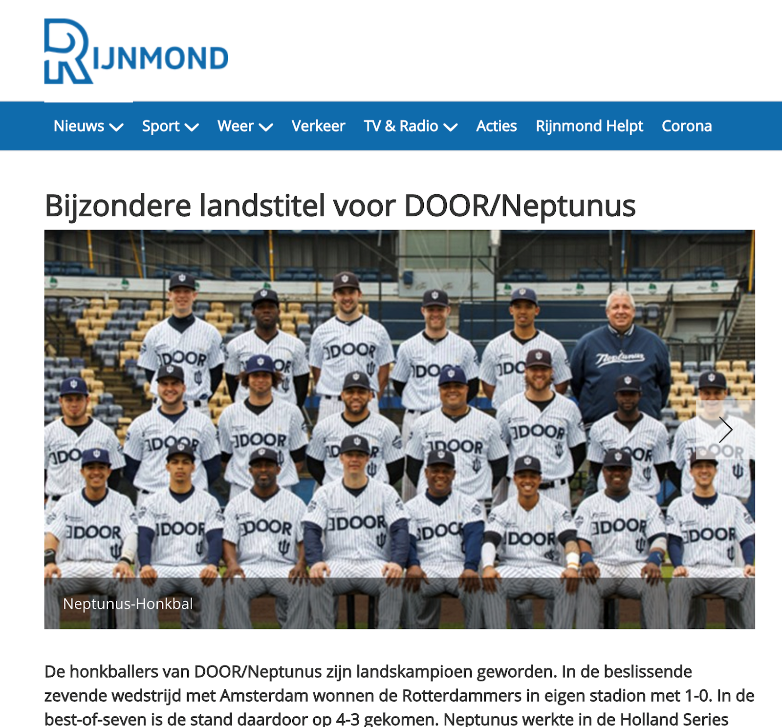 DOOR Training & Coaching sponsor honkbalvereniging Neptunus Rotterdam
